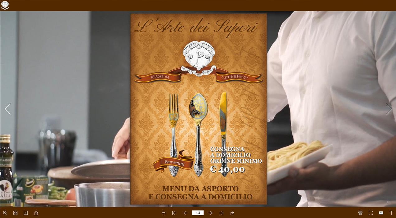 Volantino menu da asporto e consegna a domicilio